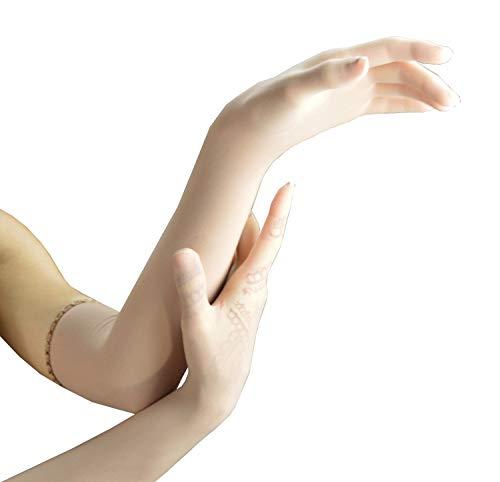 (Persephone - Sheer Seamless Nylon Lycra Evening Gloves - Opera Length (Nude) Lady's elbow length evening gloves bride wedding formal stretch nylon gloves transparent long length adult classic gloves)