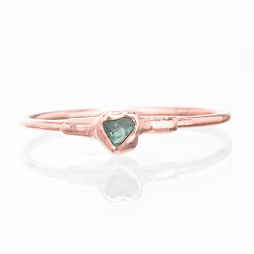 - Size 7 Dainty Raw Emerald Ring, Rose Gold, May Birthstone Jewelry