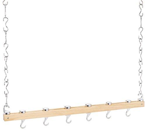 Kitchen Craft Master Class Deluxe Hängeleiste aus Holz für Töpfe, Deckenbefestigung, 92 cm