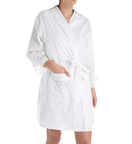 (Eileen West Women's Cotton Woven Heart Jacquard Short Wrap Robe Solid White Large/X-Large)