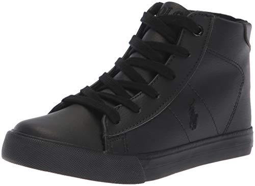 Price comparison product image Polo Ralph Lauren Kids Unisex-Kids Easten Mid Sneaker, Triple Black Tumbled, M120 M US Little Kid
