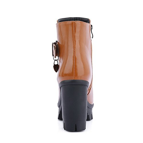 Toe PU Zipper Round Closed Boots Brown WeenFashion High Women's Solid Heels wCWqBY6