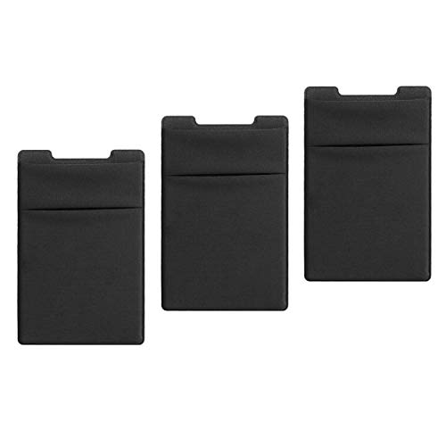 TalkWorks Phone Card Holder Adhesive Wallet Stick On (3 Pack) Stretchy Dual Pocket Cell Phone Back Case Sleeve for Apple…