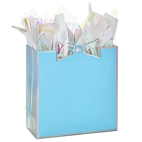 Hallmark Signature Large Gift Bag with Tissue Paper, Metallic Bow (Baby Showers, Bridal Showers, Weddings, All Occasion)