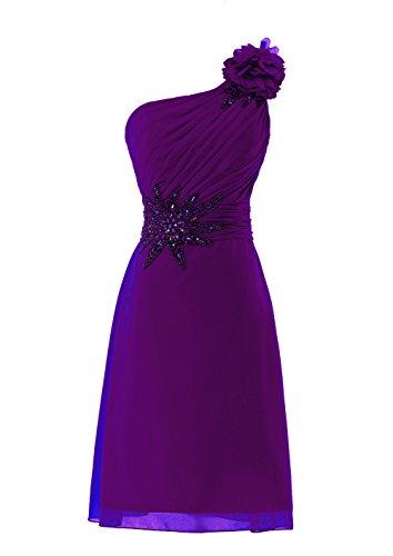 YiYaDawn Kurzes Ballkleid Cocktailkleid One-Shoulder Kleid für Damen Purpur Gj3bpZtGq