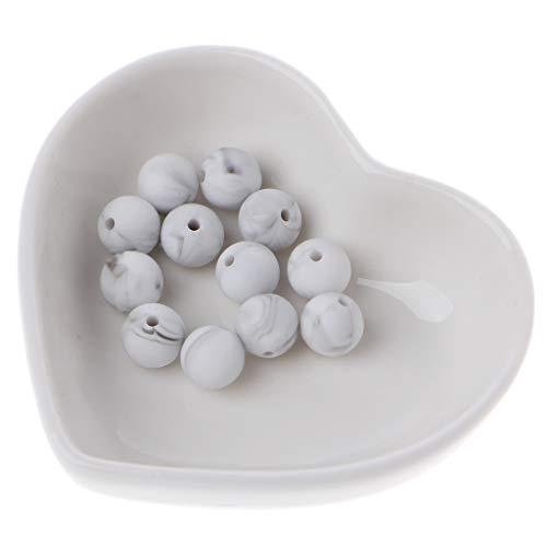 LANDUM 10 St/ück Silikon-Perlen 14Mm Polygonale Silikonperlen Accessoire De Cha/îne Sucette Bricolage Jouet Pour B/éb/é Marmor Wei/ß