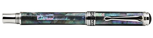 Xezo Maestro Iridescent Natural Black Mother of Pearl Platinum Plated Fine Fountain Pen. No Two Pens Alike by Xezo (Image #4)'