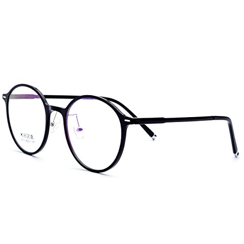 HEPIDEM TR90 2018 Men Round Ultralight Optical Glasses Frame Spectacles 6270 (black, - Spectacle Face Round For Frames