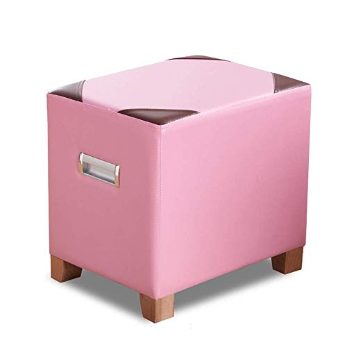 Price comparison product image Mmsh Faux Leather and Fabric Footrest Seat Coffee Table Toy Chest for Kids (Color : Pink pu)