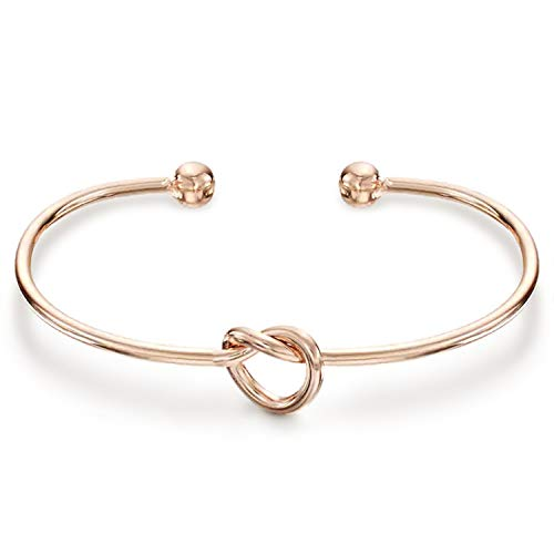 (PAVOI 14K Gold Plated Forever Love Knot Infinity Bracelets for Women | Rose Gold Bracelet)