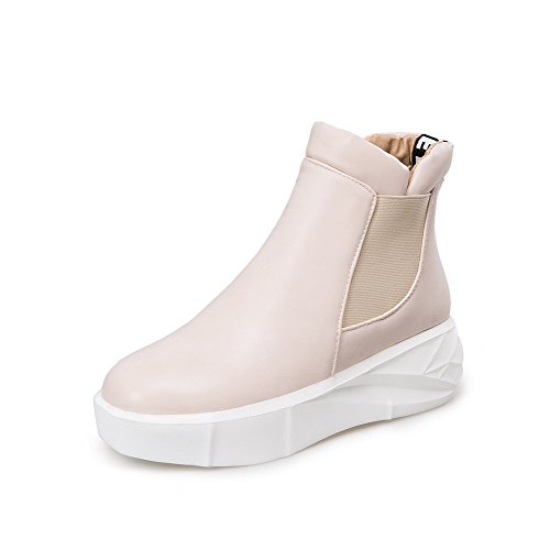 Allhqfashion Women's Soft Material Pull-on Round Closed Toe Kitten-Heels Low-top Boots Beige aG76HqQT