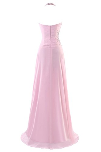 Prom Lang Kleides Beaded Kleid Fanciest Pink Halter Women's Evening Chiffon Blue Formelle qn0UA