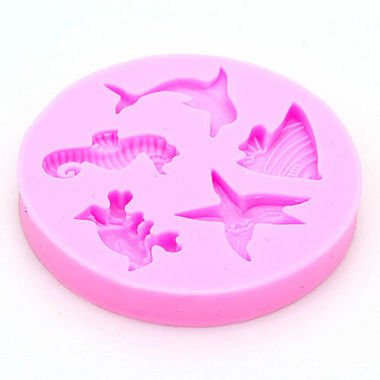 SMALL Sea Animals With Seahorse and Shells Silicone Mold (Starfish, Dolphin, Fish) - Custom Molds from Bakell