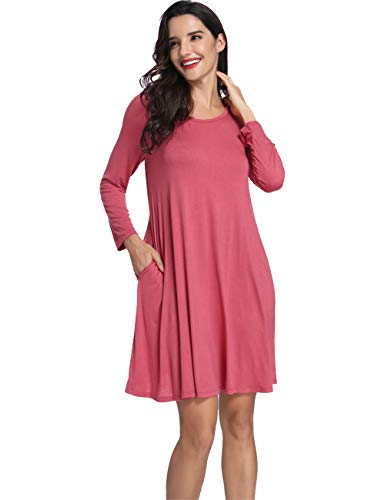 Dress Short Dress Pockets Casual Dress Long Bean Plain Dress Pink with Swing T Shift Loose Sleeve Azalosie Shirt xIZnXn