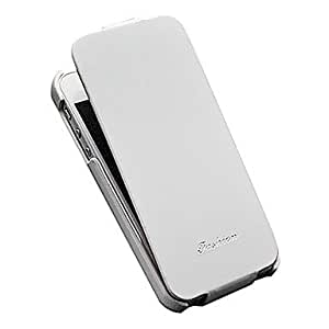 Luxury Flip PU Leather Full Body Case with Fashion Logo Thin Cover for iPhone 5/5S/5G (Assorted color) --- COLOR:White