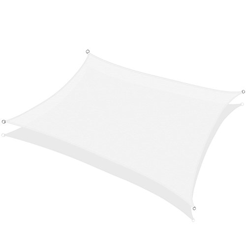 KHOMO GEAR Rectangular Sun Shade Sail 18 x 22 Ft UV Block Fabric - White (Decks Detached Backyard)
