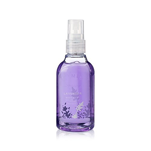 Thymes - Lavender Petite Body Wash with Pump - Hydrating Lavender Shower Gel for Gentle Calming Cleanse - Travel Size - 2.5 oz