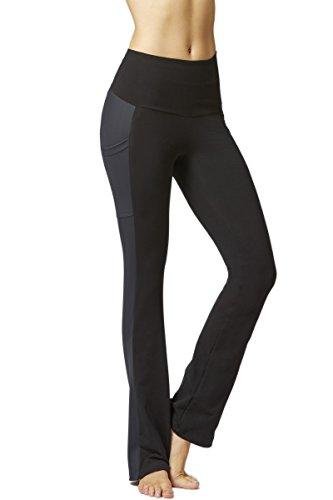 TLC Sport Women's Slimming Shaping Body Control Pocket Bootleg Boot Cut Kick Flare Stretch Yoga Pants-Short-M-Black (Best Yoga Pants Uk)