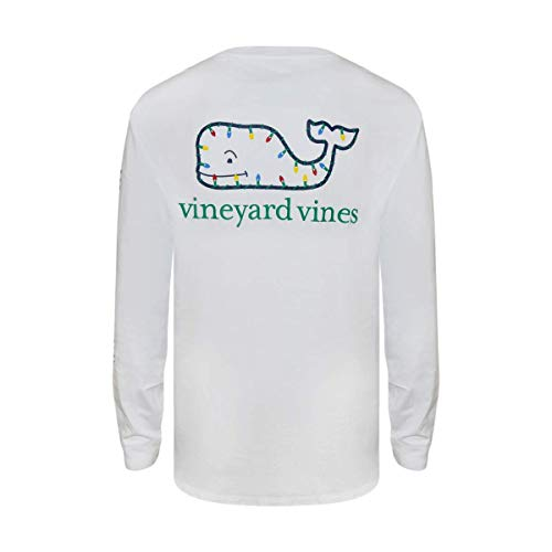 Vineyard Vines Men's Long-Sleeve Graphic Pocket T-Shirt (X-Small, White Xmas Lights) (Vineyard Vines Men Hats)