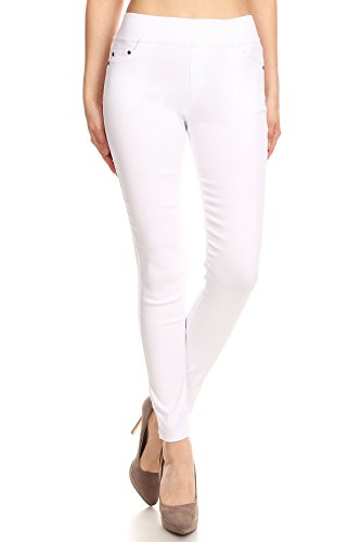 MissMissy Women's Casual Color Denim Slim Fit Skinny Elastic Waist Band Spandex Jeggings Ankle Jeans Pants (Large, White)