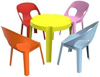 resol Rita set infantil para interior, exterior, jardín - 1 Mesa Lima + 4 Sillas Roja/Rosa/Azul/Naranja