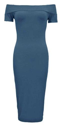 Femmes Moulante Shoulder Bleu Longueur Veau À Off De Robe The Bardot TPkuOXiZ