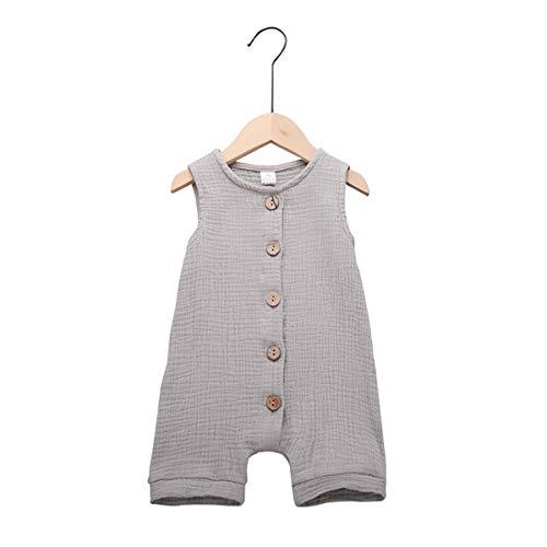 Infant Newborn Baby Boys Girls Cotton Linen Romper Summer Jumpsuit Sleeveless Overalls Clothing Set (Grey, 12-18 - Boys Overalls Cotton