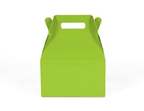12CT (1 Dozen) Medium Biodegradable Kraft / Craft Favor Treat Gable Boxes (Medium, Lime Green )