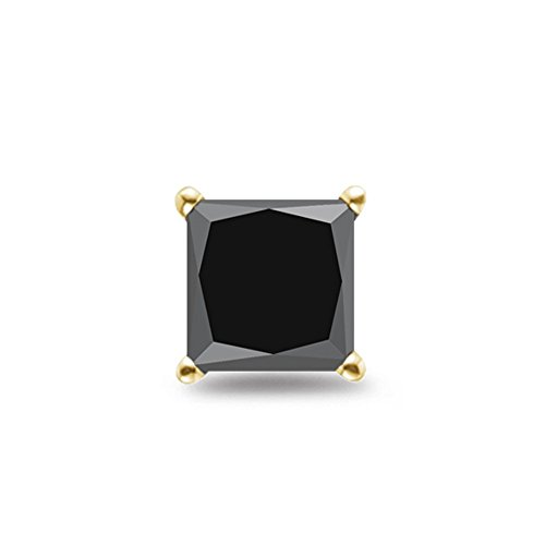 1/4 (0.23-0.30) Cts of 2.50-3.00 mm Princess AA Black Diamond Mens Stud (Aa Diamond Mens Ring)
