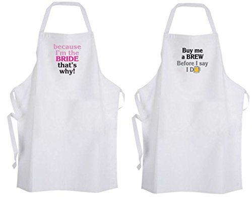 Set 2 Bride / Groom Adult Size Aprons Wedding Funny Bachelorette Bachelor Party by Aprons365