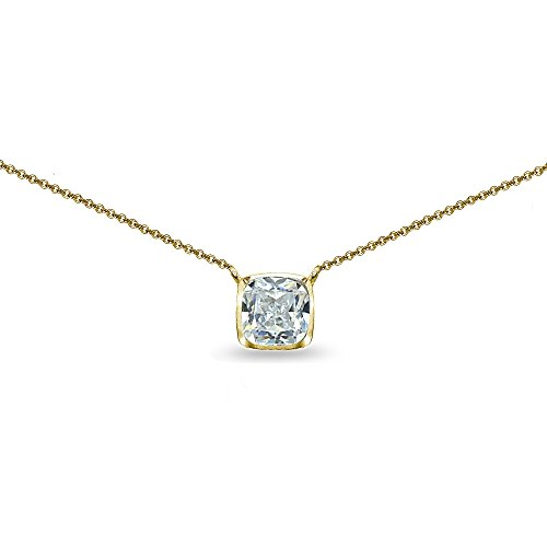 Yellow Gold Flashed Sterling Silver Cubic Zirconia Cushion-Cut Bezel-Set Solitaire Choker Necklace