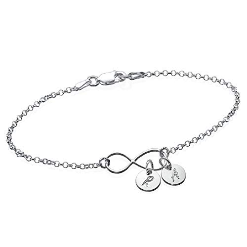 MyNameNecklace Personalized Infinity Anklet Bracelet Dangle Tiny Initials 925 Sterling Silver
