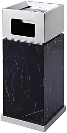 ゴミ袋 ゴミ箱用アクセサリ 灰皿の縦のロビーのエレベーターが付いている正方形のステンレス鋼のゴミ箱クリエイティブゴミ箱 キッチンゴミ箱 (Color : BlackA)