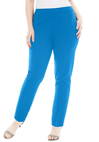 Roamans Women's Plus Size Bend Over Pull-On Pant Light Sapphire,22 - Bend Women