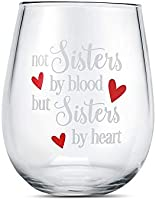 Wine glasses with Not sisters by blood but sisters by heart funny sayings best friend birthday gifts for women female...