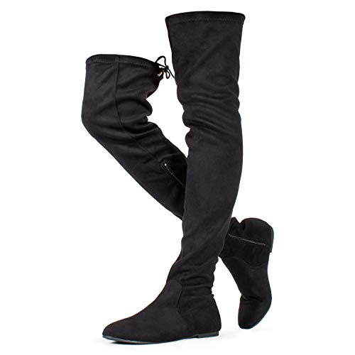 (RF ROOM OF FASHION Women's Faux Suede Fitted Flat to Low Heel Over The Knee High Boots Black Suede (8))