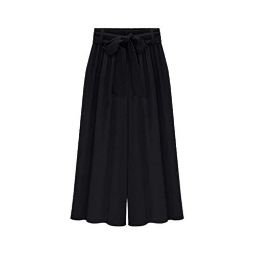 Grandi Vita Capri Larga 3 4 Di YuanDiann Estivi Nero Dimensioni Donna Elastica Alta Pantaloni Gamba Coulisse q7w4Ytzx