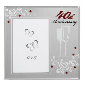 happy 40th ruby wedding anniversary mirror photo frame