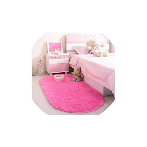 Monds-Boshi Carpets Soft Oval Carpet Area Rug Slip Resistant Floor Mats for Parlor Living Room Mats Home Supplies,Rose Red,50Cm X 80Cm