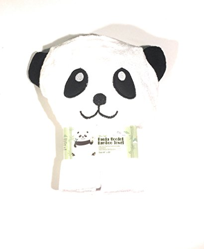 Panda Bamboo Hooded Towel - 100% Natural-Extra Soft-400 GSM - Excellent absorbance and quick dry - Generous size 39'' x 27'' - Cute Happy Panda by One Peaceful Baby