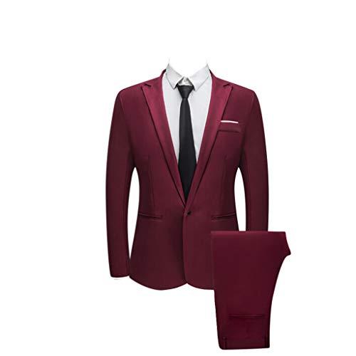 Realdo Mens 2 Pieces Suit,Mens Slim Fit One Button Business Wedding Banquet Blazer & Trousers]()