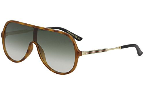Gucci GG 0199S 004 Havana Plastic Shield Sunglasses Green Gradient Lens ()
