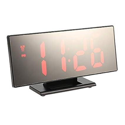 Alarm Clocks for Bedrooms - Digital Alarm Clock LED Mirror Clock Multifunction Snooze Display Time Night