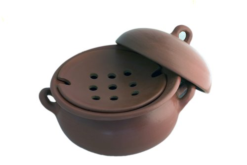 Pomaireware Clay Steamer Pot with Insert and Lid