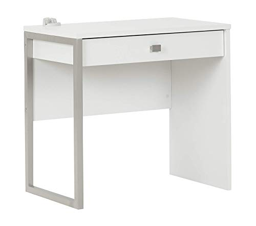 Sоuth Shоrе Interface Small Modern Simple Design Laptop/Study Desk with 1 Drawer, Pure White