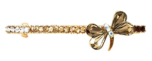 Crystal Dragonfly Barrette - Gold Tone - Pink (H468) ()