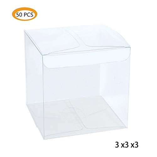 Lot of 50pcs 3x3x3 inches (7.6x7.6x7.6cm) Clear Plastic Candy Gift Boxes Thick PVC Anti Scratch Holiday Wedding Party Favor ()