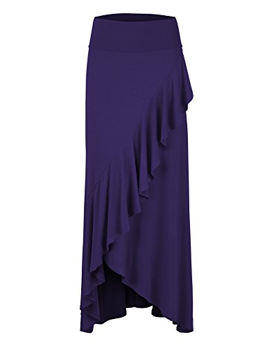Lock and Love WB1356 Womens Wrapped High Low Ruffle Maxi Skirt M - Skirt Ruffle Long