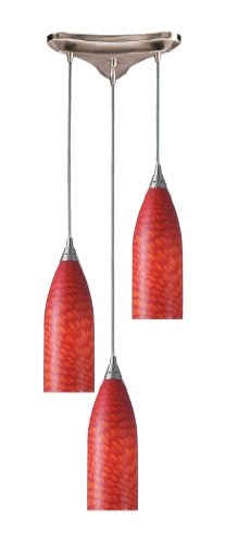 - Elk 522-3SC 3-Light Pendant In Satin Nickel and Scarlet Red Glass