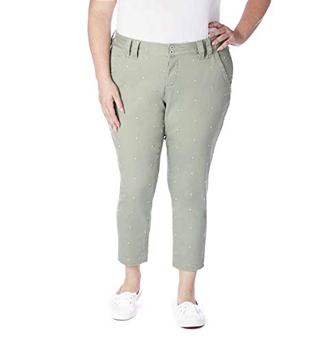 Jag Jeans Women's Plus Size Flora Chino Crop, New Leaf Polka dot ()